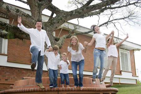 Beautiful family enjoying together in the park  photo
