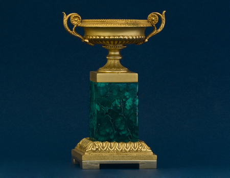 BRONZE GILTED AND MALACHITE VASE FRENCH STYLE