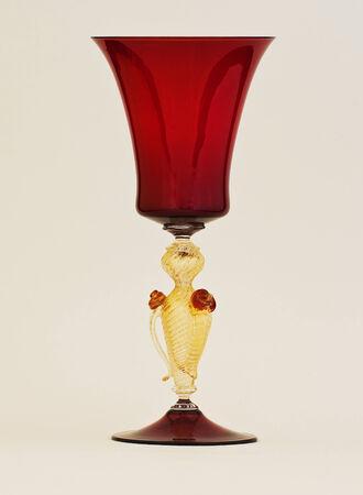 A red and gold venetian murano glass Archivio Fotografico