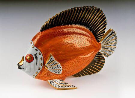 Italian Gilt & Orange Porcelain Fish Sculpture