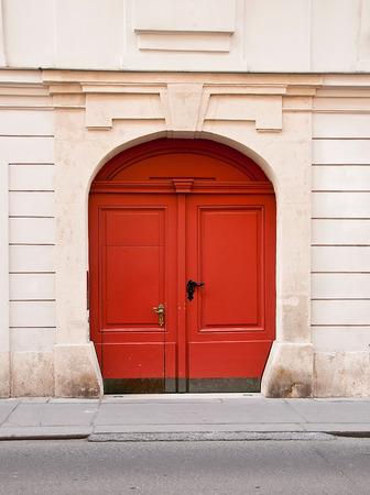 Red european house gate
