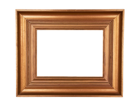 Antique wood frame with classic simple design gold painted on white background