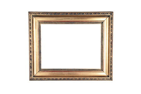 Old Wooden Frame With Light Design Gold Painted On White Background