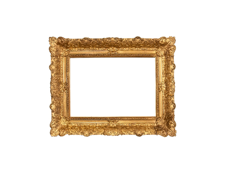 engravings: An old italian wood frame with rich plaster engravings and gold painted