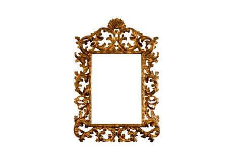 Antique italian baroque authentic carved basswood mirror frame in gold leaf isolated on white background Archivio Fotografico