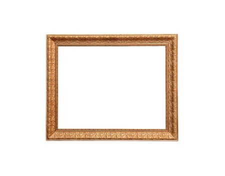 A modern wood frame with classic carved leaves design on white background