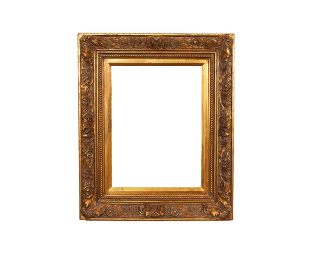 engravings: An old french wood frame with rich plaster engravings and gold painted.