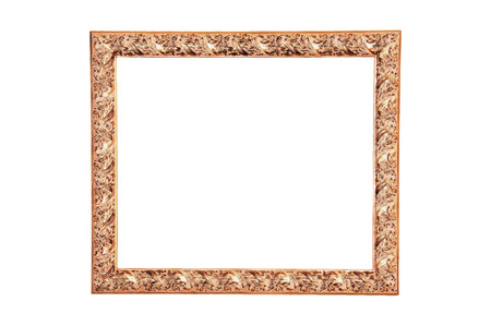 A modern wood frame carved olive leafs and painted with gold Archivio Fotografico