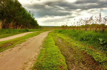 Village road on cloudy days  photo