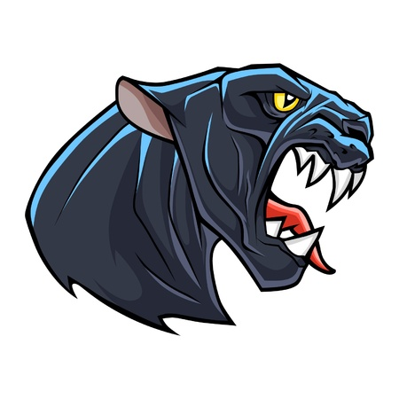 black panthers: Stylized angry panther head