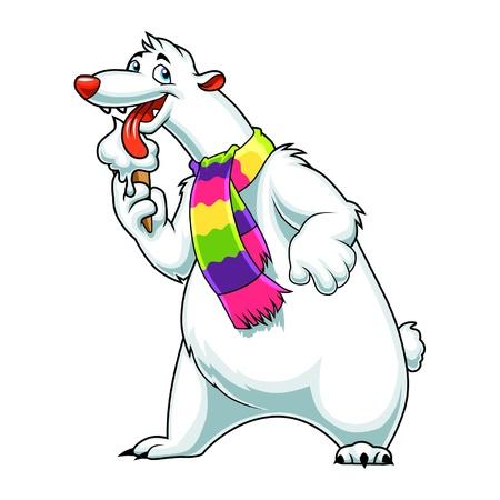 Cartoon white bear eats ice cream Illustration