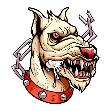 cartoon angry: Head of white angry dog