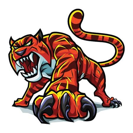 pounce: Stylized angry tiger Illustration