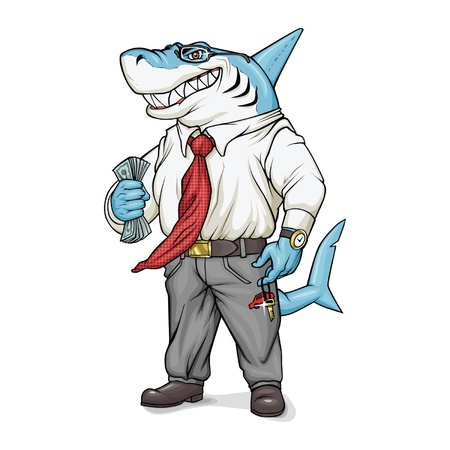 Shark-businessman is holding money and smiling.
