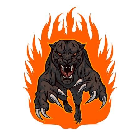 Grommende panter sprong uit het vuur.