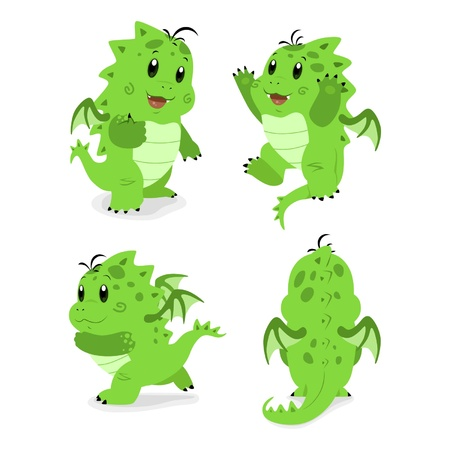Cartoon baby dragon in different poses