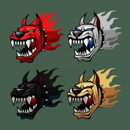 wilkołak: głowa pies piekło w czterech kolorach