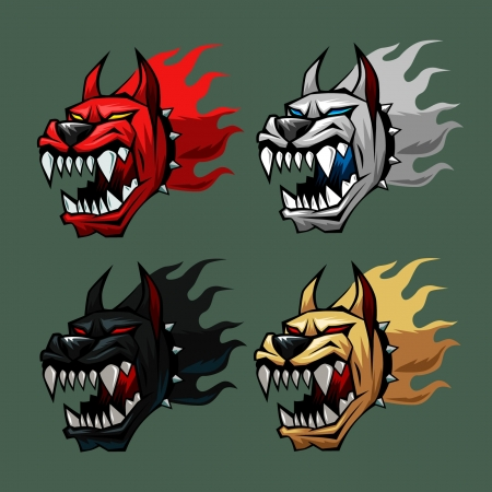hell dog head in four colors Illustration