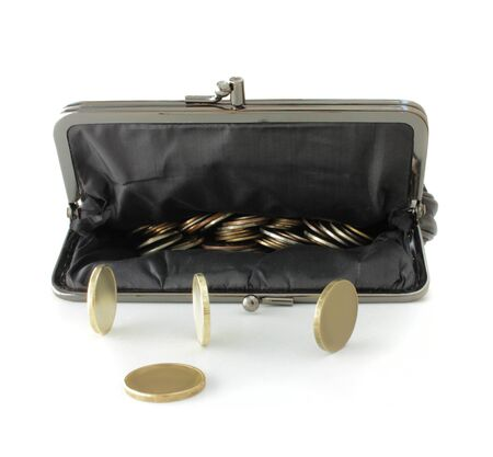 fabrick: Black open wallet and gold coins on a white background