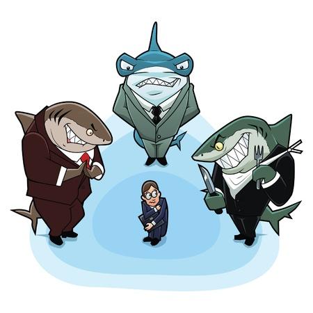 Business Haien umgeben den jungen und unerfahrenen Mann Vektorgrafik