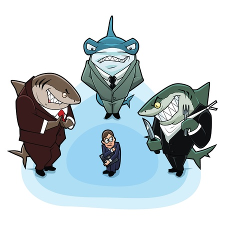 Business sharks surrounded the young and inexperienced man  Vector
