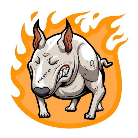 bullterrier: Fire Bullterrier Stock Photo