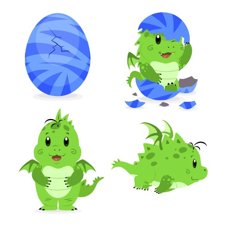Little dragon with egg Vector