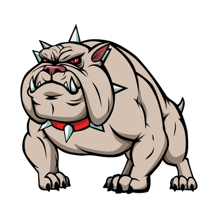 angry dog:  illustration of a angry bulldog.