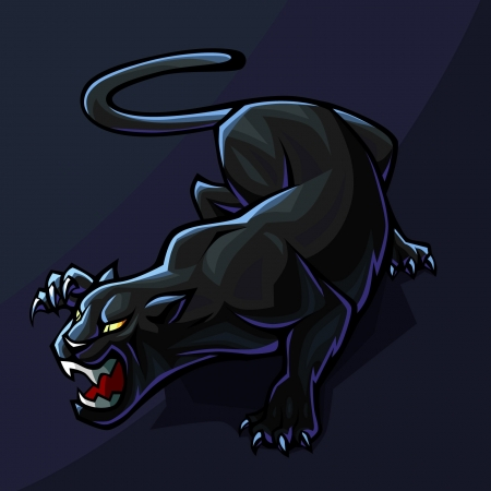 black panthers: Stylized Panther on dark background Illustration