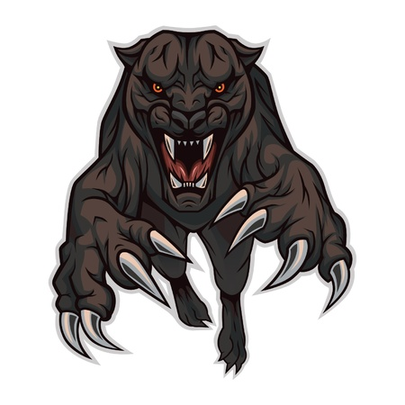 An enraged panther jumping on the viewer