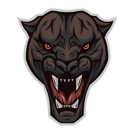 enraged: The head of an enraged panther Illustration