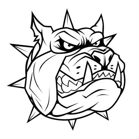 Angry dog head bw Vector