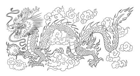 eastern zodiac: chinese dragon bw
