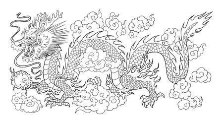 chinese dragon bw