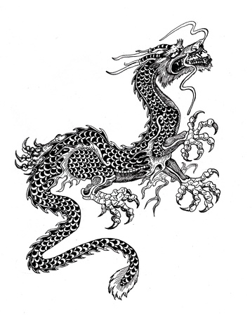 black and white dragon: Chinese dragon