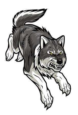 wolf face: Running wolf