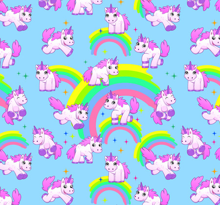 ponies: unicorn pattern blue Stock Photo