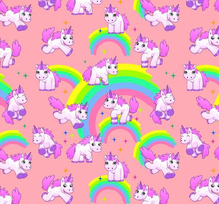 eenhoorn patroon roze