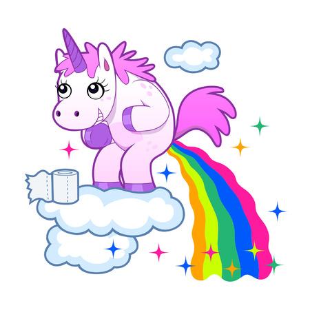 funny animal: Rainbow unicornio pooping Vectores