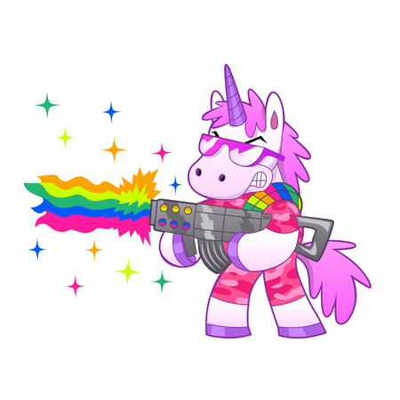 rainbow shoot from soldier unicorn Vector