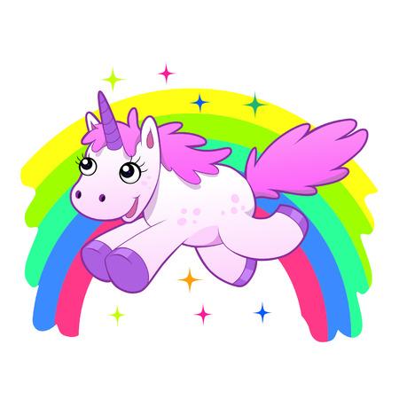 eenhoorn en regenboog Stock Illustratie