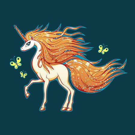 white unicorn on blue background Vector