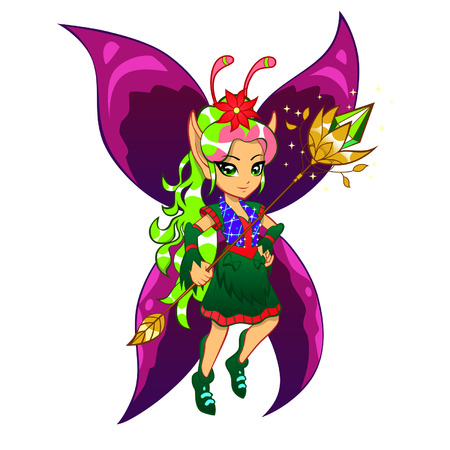 pixie: Fairy with a magic wand Illustration