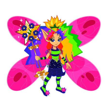 Brightly colored rainbow fairy