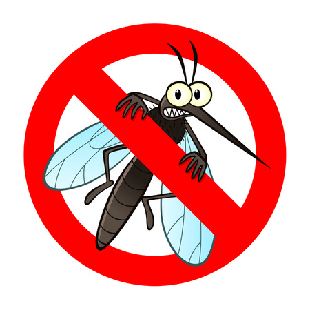 malaria: Anti mosquito sign with a funny cartoon mosquito