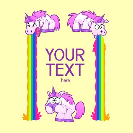 Funny decorative frame of three cartoon barfing unicorns  Vector
