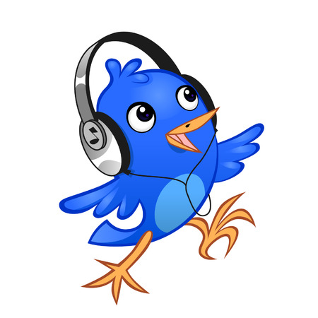 Blue cheerful birdie with a headphones on the white background