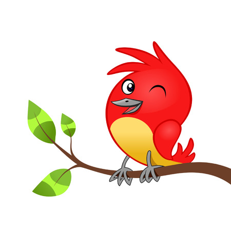 Red cheerful birdie on the tree branch isolated