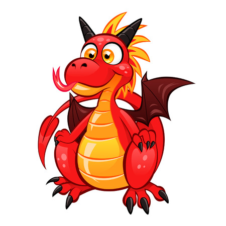 Cartoon funny red dragon on the white background  Illustration