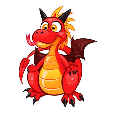 Historieta divertida del dragón rojo en el fondo blanco